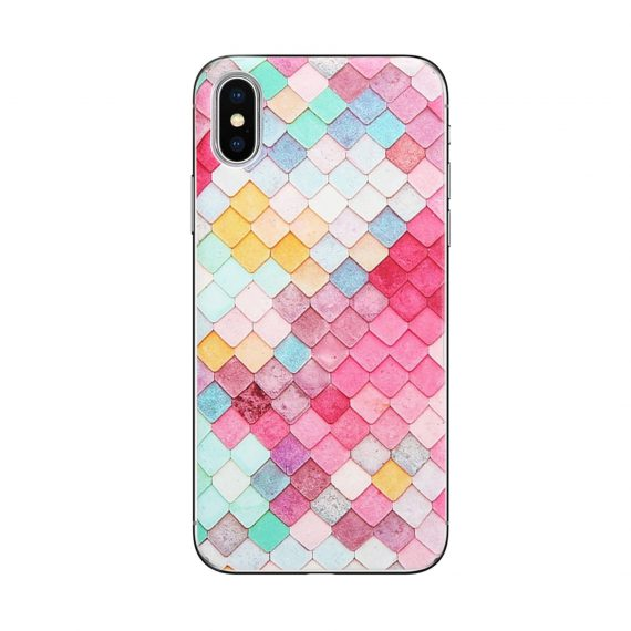 Etui do Iphone X/XS elastyczne kolorowe kafelki