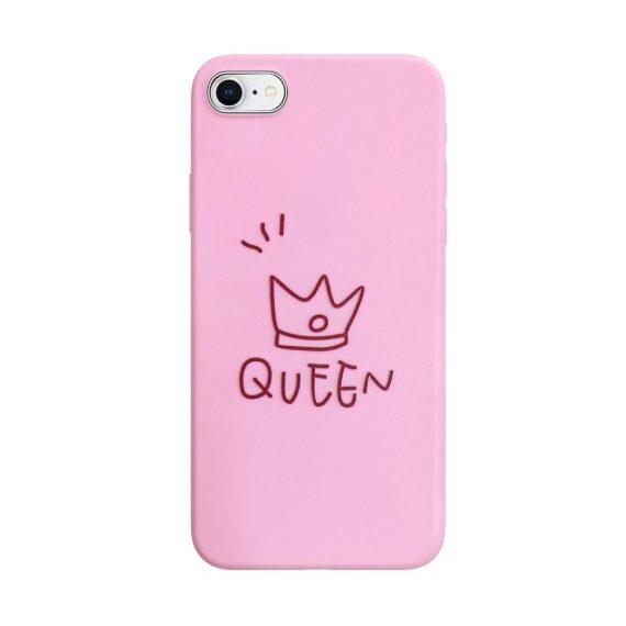 Etui do iPhone SE2020/8/7 silikonowe różowe dla niej QUEEN