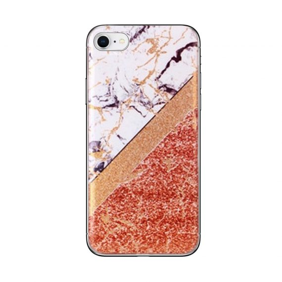 Etui do iPhone SE2020/8/7 silikonowe marmur i brokat