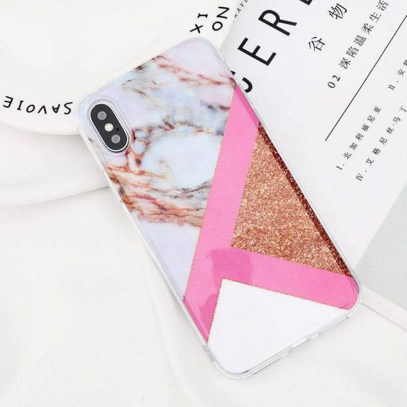 Miękkie marmurkowe etui do Iphone 6 Plus/6s Plus trikolor brokat