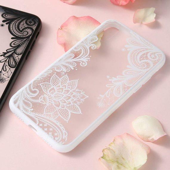 Etui Ihpone X Xs Koronka Kwiat Biały