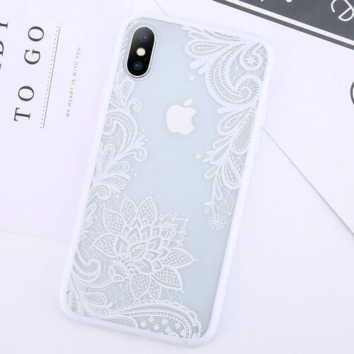 Etui Ihpone X Xs Koronka Kwiat Biały 4