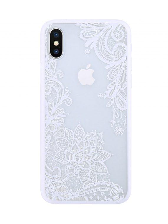 Etui Ihpone X Xs Koronka Kwiat Biały 5