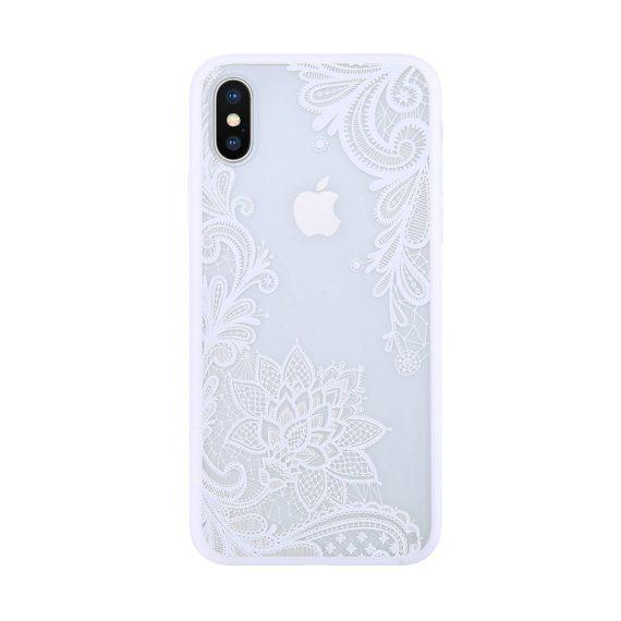 Etui do Iphone X/XS ornamentowe białe koronkowe kwiaty