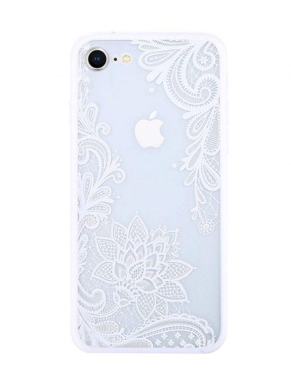 Etui Iphone 7 8 Koronka Kwiat Biały 1=2