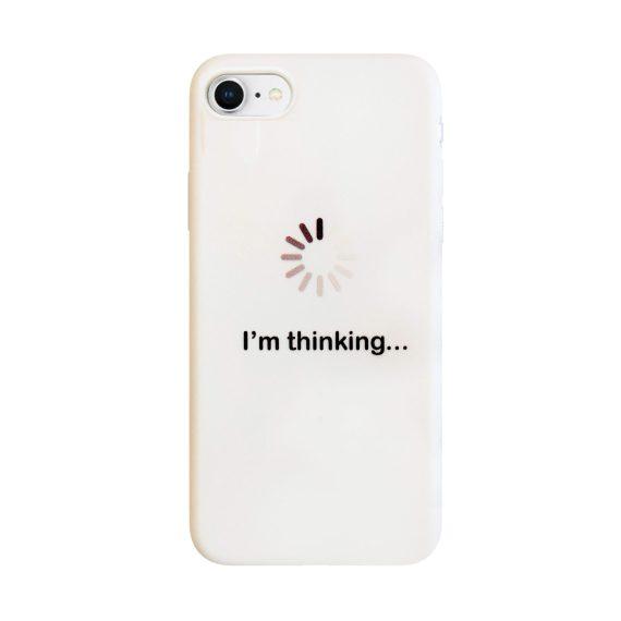 Etui do iPhone SE2020/8/7 silikonowe miękkie z napisem I'm thinking – białe
