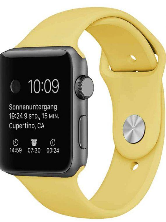 Pasek Silikonowe Na Zegarek Apple Watch Zolty 1
