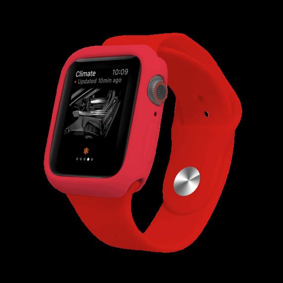 Silikonowy zestaw pasek i etui obudowa do zegarka Apple Watch 6/5/4/SE 44 mm – kolor czerwony