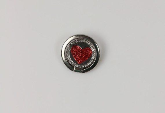 Uchwyt magnetyczny selfie ring podstawka do telefonu 2in1 srebrny z czerwonym sercem