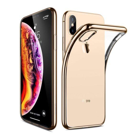 Etui do iPhone X/XS transparentne ze złotą ramką