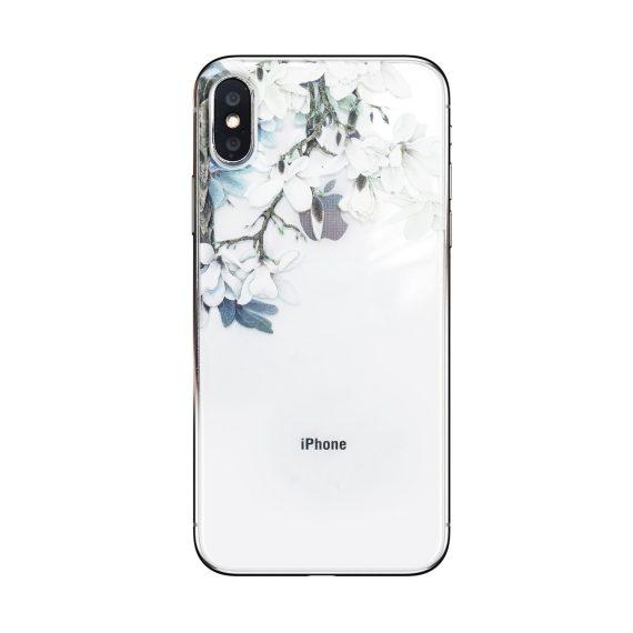 Etui do iPhone X/XS silikonowe z kwiatami jaśminu