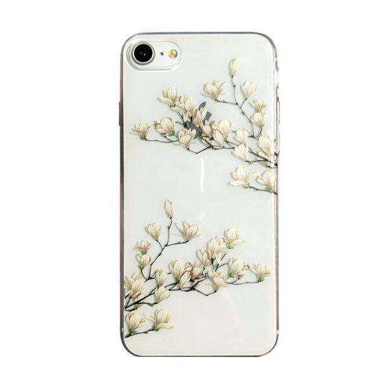 Etui do iPhone SE2020/8/7 silikonowe z kwiatami magnolii