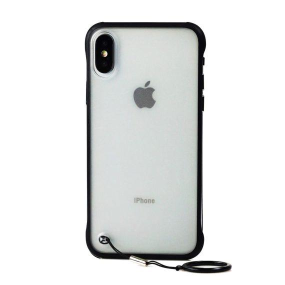 Etui do iPhone X/XS szklane z czarnymi bokami i uchwytem do trzymania