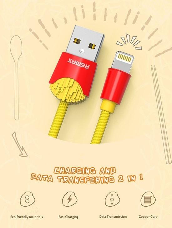 Kabel Usb Marki Remax Frytki Do Iphone Lightning 1 Metr Żółty 1
