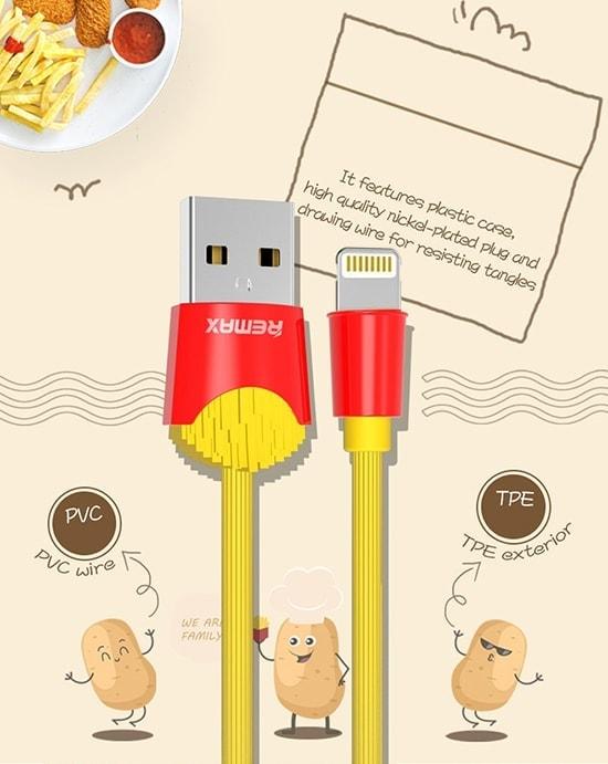 Kabel Usb Marki Remax Frytki Do Iphone Lightning 1 Metr Żółty 3