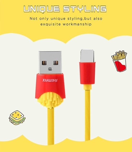 Kabel Usb Marki Remax Frytki Do Iphone Lightning 1 Metr Żółty 5