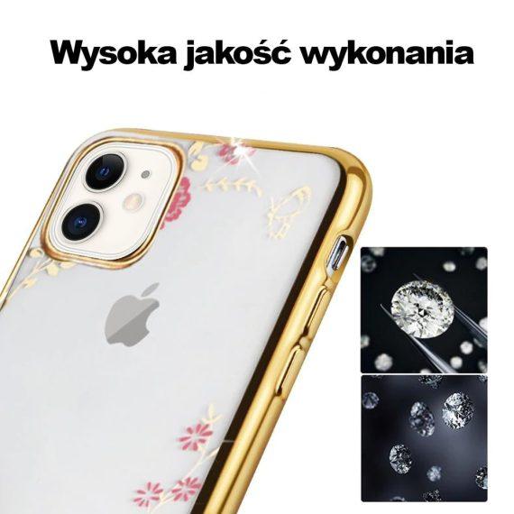 Złote Etui Z Kwiatami I Kryształami Do Iphone 11 1