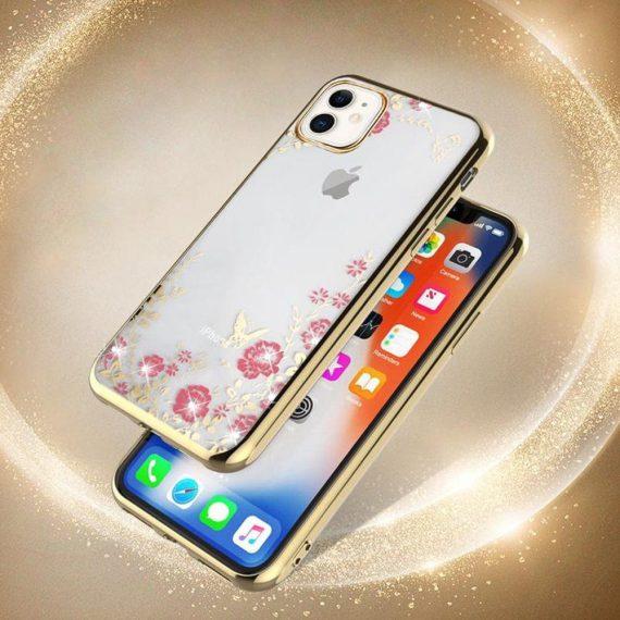 Złote Etui Z Kwiatami I Kryształami Do Iphone 11 2