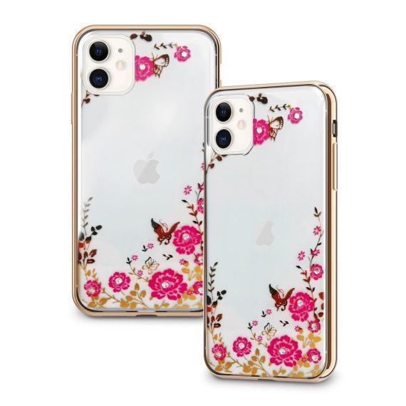 Złote Etui Z Kwiatami I Kryształami Do Iphone 11