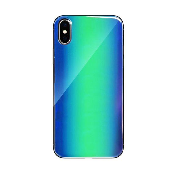 Etui do iPhone X/XS stylowe szklane zielone