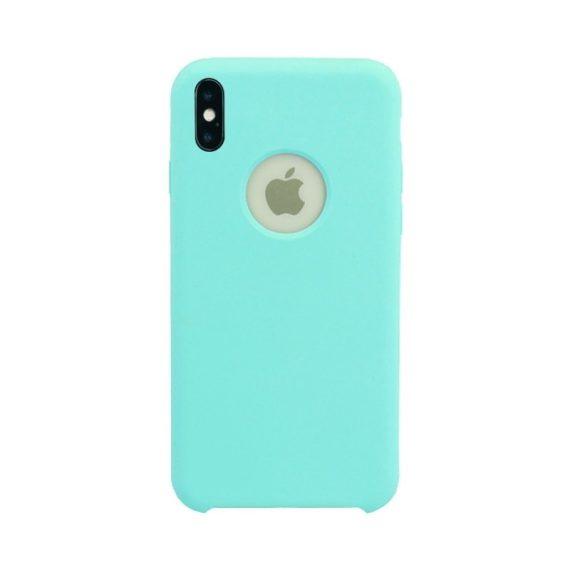 Etui do iPhone X/XS silikonowe cienkie z widocznym logo miętowe