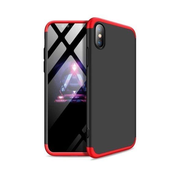Etui do iPhone X/XS ochronne na przód i tył CZARNO-CZERWONE