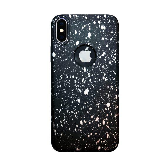 Etui do iPhone X/XS silikonowe czarne w białe ciapki