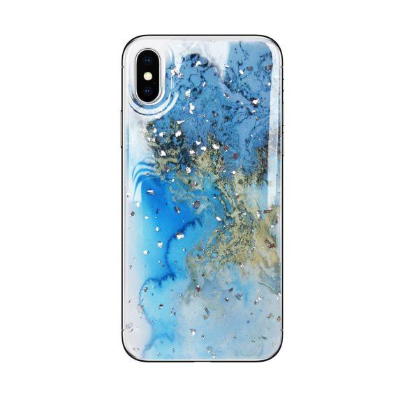 Etui do iPhone X/XS silikonowe marmurkowe niebieski ze złotem