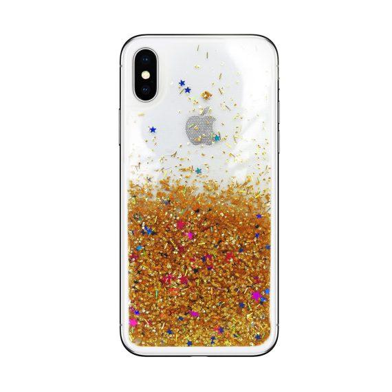 Etui do iPhone X/XS silikonowe transparentne ze złotym płynnym brokatem