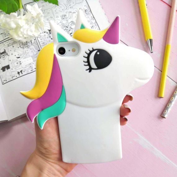 Etui Gumowe Zwierzak Jednorożec Biały Iphone 7 8 E
