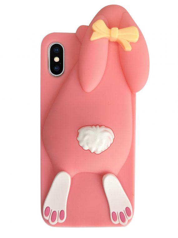 Etui Gumowe Zwierzak Zając Iphone X Xs Różowyjpg