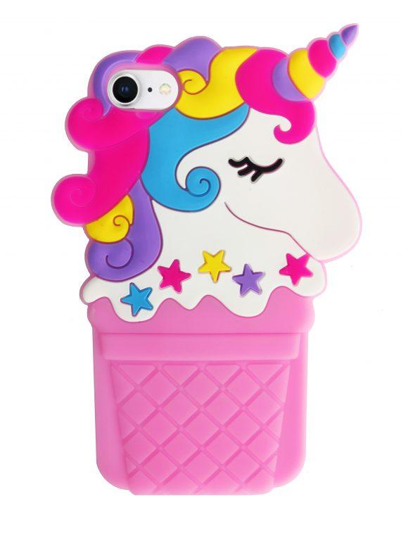 Etui Iphone 7 8 Gumowy Zwierzak Jednorożec Lody Różowy