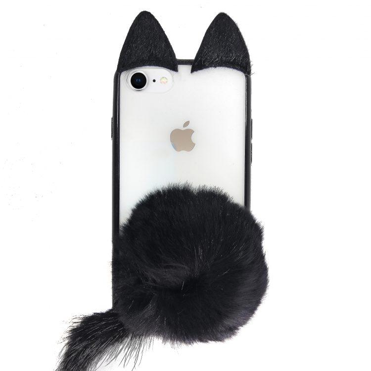 Etui Iphone 7 8 Kot Z Uszy Futro Pompon