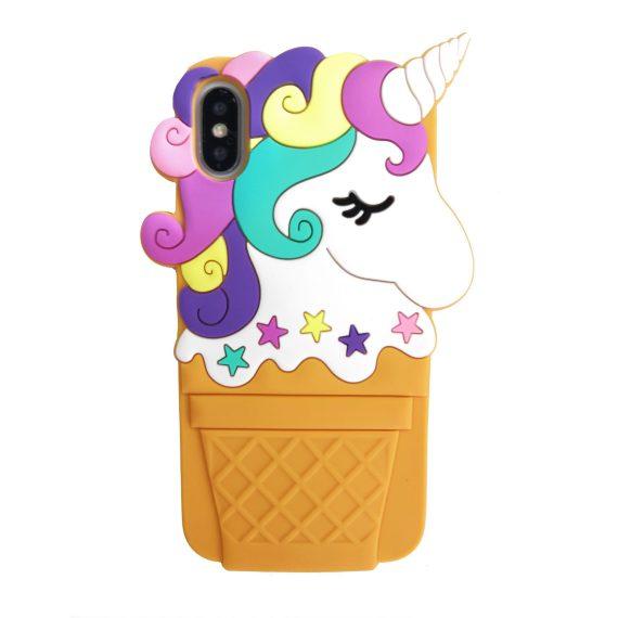 Etui do iPhone X/XS kolorowe 3D jednorożec