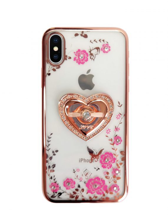 Etui Róże Przezroczyste Diament Silikonowe Z Uchwytem Różowe Iphone X Xs 5