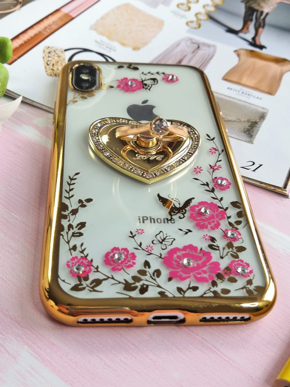 Etui Róże Przezroczyste Diament Silikonowe Z Uchwytem Złote Iphone X Xs 3