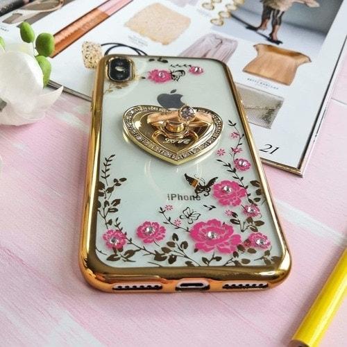 Etui Róże Przezroczyste Diament Silikonowe Z Uchwytem Złote Iphone X Xs 3 Scaled