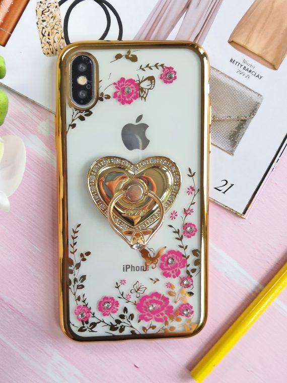 Etui Róże Przezroczyste Diament Silikonowe Z Uchwytem Złote Iphone X Xs 4