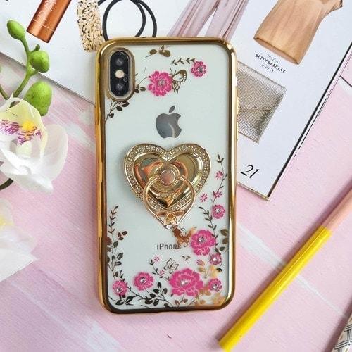Etui Róże Przezroczyste Diament Silikonowe Z Uchwytem Złote Iphone X Xs 4 Scaled