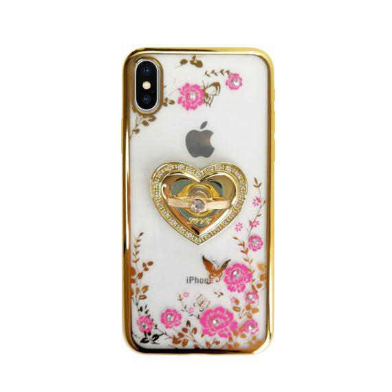 Etui do iPhone X/XS silikonowe kwiatowe z uchwytem – złote