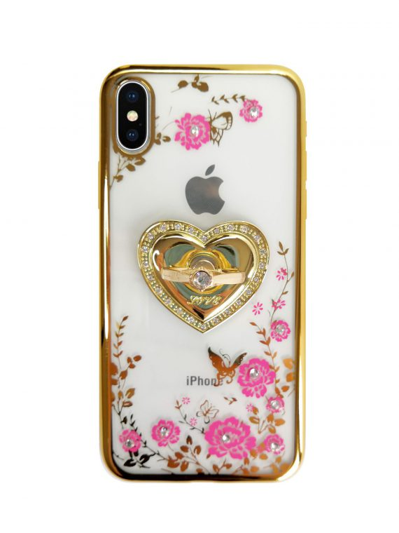 Etui Róże Przezroczyste Diament Silikonowe Z Uchwytem Złote Iphone X Xs 6