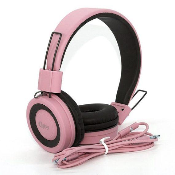 Słuchawki nauszne GJBY + mikrofon do rozmowy model GJ-14 Różowe