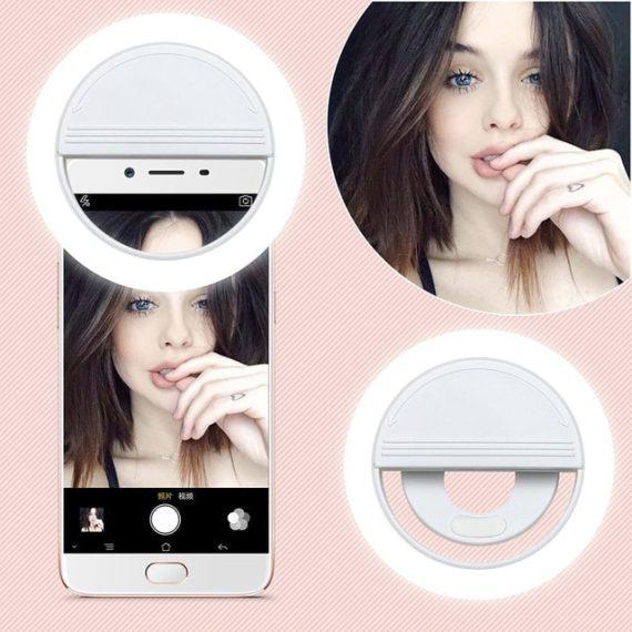 Lampa Pierścieniowa Do Zjęć Selfie Biała+kabel Usb Micro