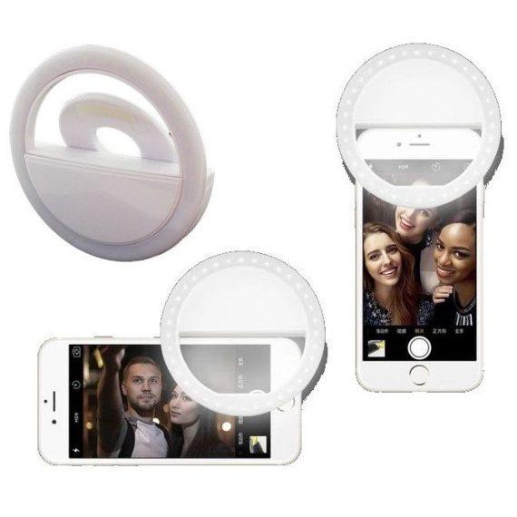Lampa Pierścieniowa Do Zjęć Selfie Biała+kabel Usb Micro 4