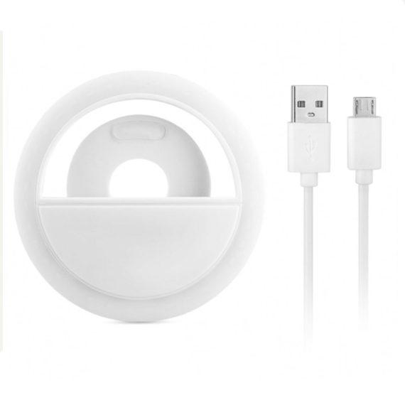 Lampa Pierścieniowa Do Zjęć Selfie Biała+kabel Usb Micro 6