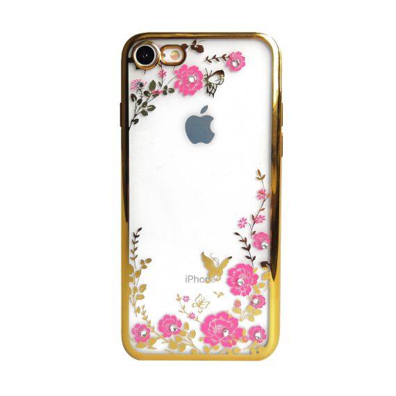 Etui do iPhone SE2020/8/7 przezroczyste kwiaty z kryształkami – złoty