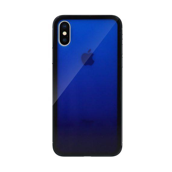 Etui do iPhone X/XS szklany tył silikonowe boki – niebieskie