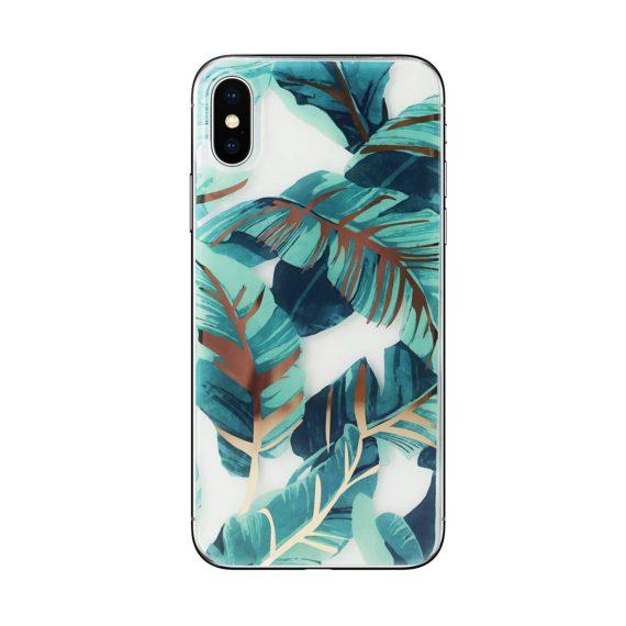Etui do iPhone X/XS tropikalne palmy na złotym błyszczącym tle