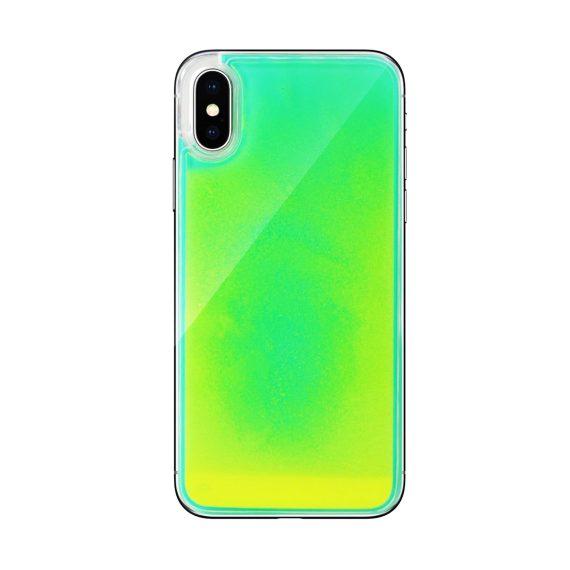 Etui do iPhone X/XS oryginalne ekskluzywne z piaskiem świecącym w ciemności żółto-zielone