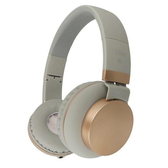 Słuchawki nauszne GJBY + mikrofon do rozmowy model GJ-18 Szary ze złotem